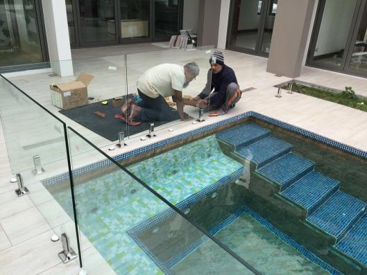 Glass railing and glass door for Villa project in Mauritius, in 2016