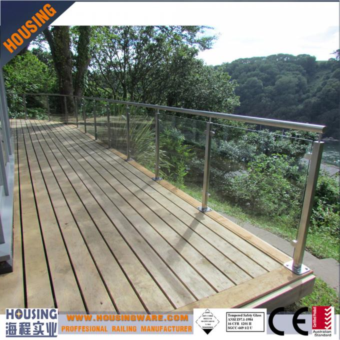 316 stainless steel glass balustrading ideas with square pipe baluster(030)