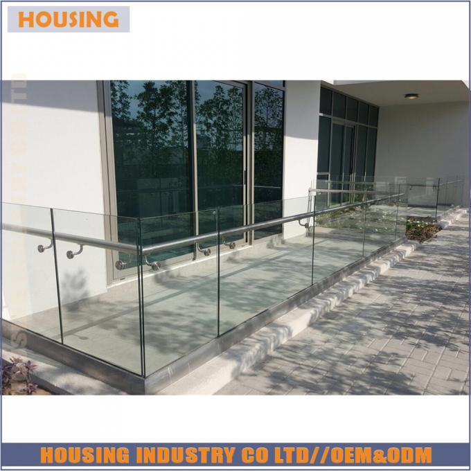 Alu u channel balustrade profiles led glass railing