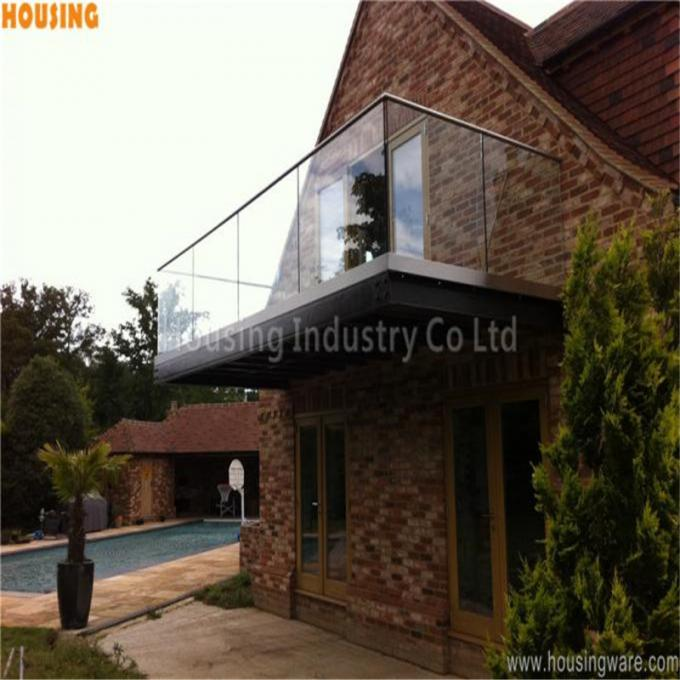 outdoor glass panel fencing with laminated glass u channel railing