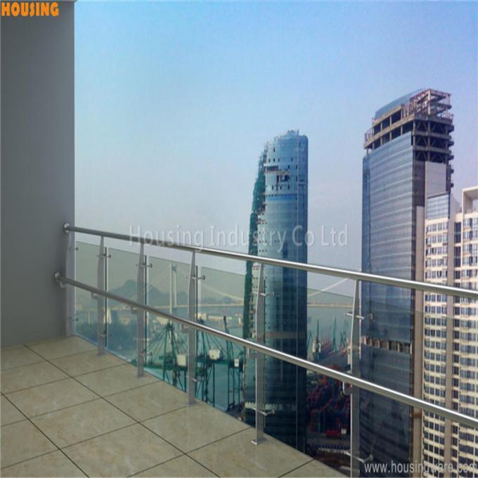 flat bar post stainless steel handrail systems with tempered glass(027)