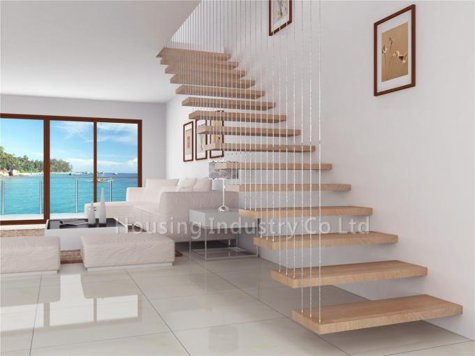 Modern floating staircase non-slip strips cable railing hardware(HS-FLOATING-WT-WIRE)