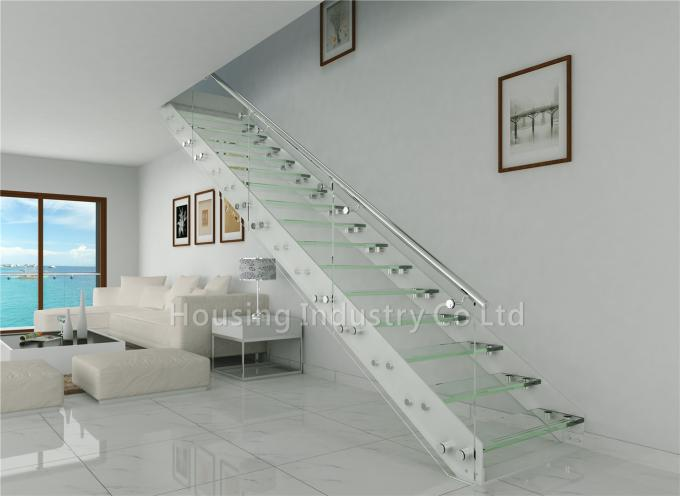 Double steel straight plates open riser glass staircase with standoff railing(HS-IP stringer-GT-PF)