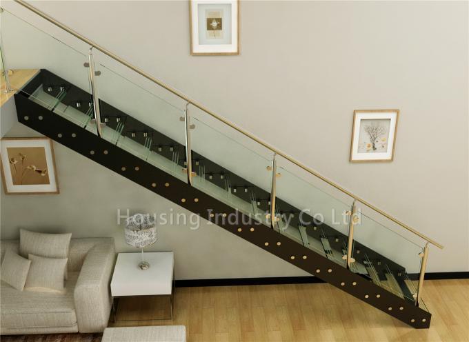 non slip l-shaped glass straight straicase ss post glass handrail(HS-IP STRINGER-GT-23)