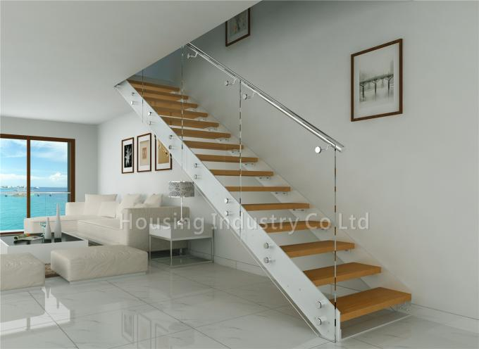 straight stairs with s.s standoff glass handrail wood stairway(HS-IP-STRINGER-WT-PF)