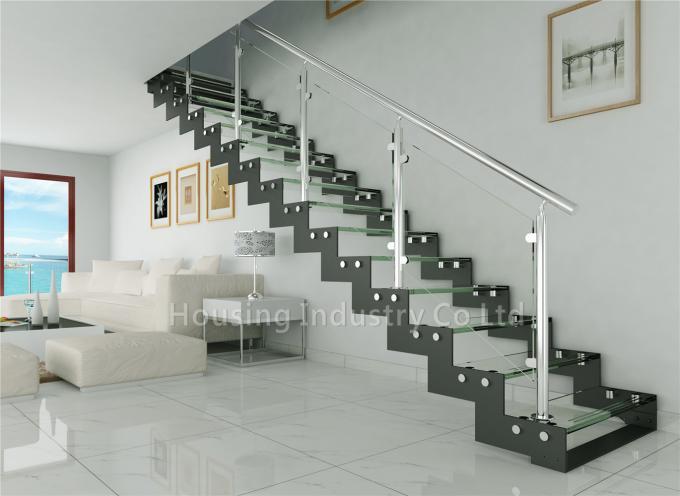 zig-zag stringer straight crystal glass stair railing loft ladder(HS-ZP STRINGER-GT-23)