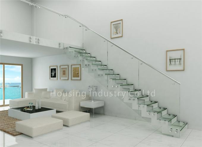Tempered glass panel stairs glass railing straight staircase(HS-ZP STRINGER-GT-PF)