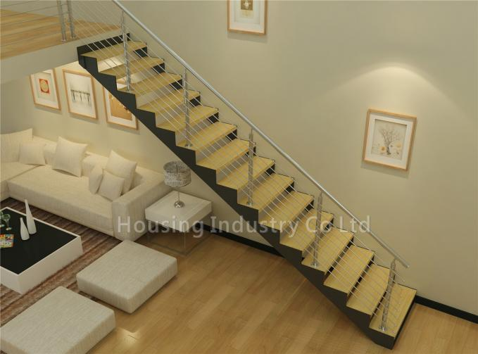 Metal and wood stairs with stainless steel rod balustrade(HS-DP STRINGER-WT-06)