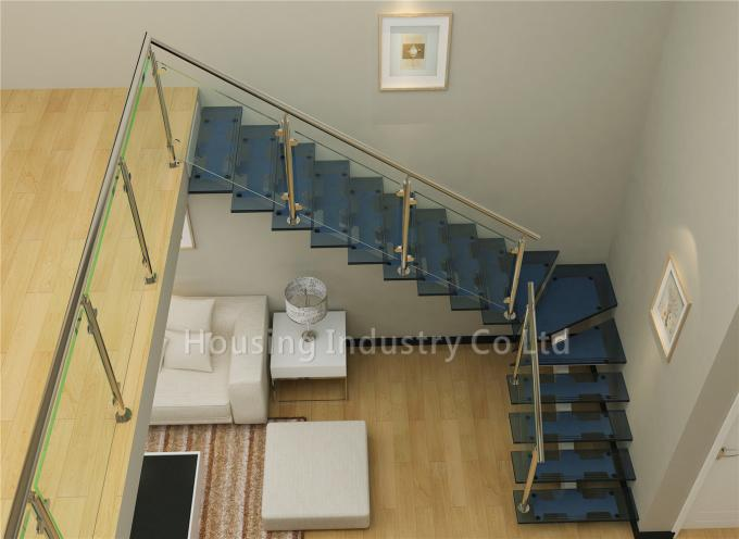 Australian fashion glass railing L shape staircase with laminated glass tread(HS-RHS BEAM-GT-23)