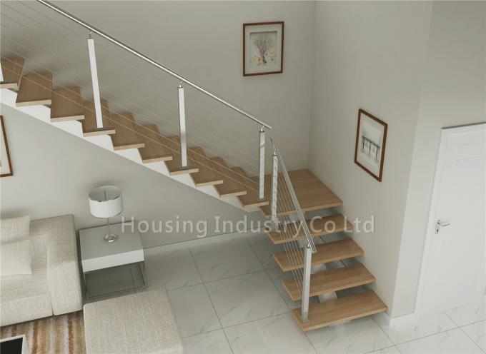 DIY straight staircase solid wood stairs price with wire railing(HS-RHS BEAM-WT-24)