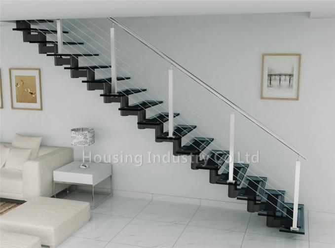 Toughened laminated glass for stairs with tube beam cable railing(HS-ZP STRINGER-GT-23)