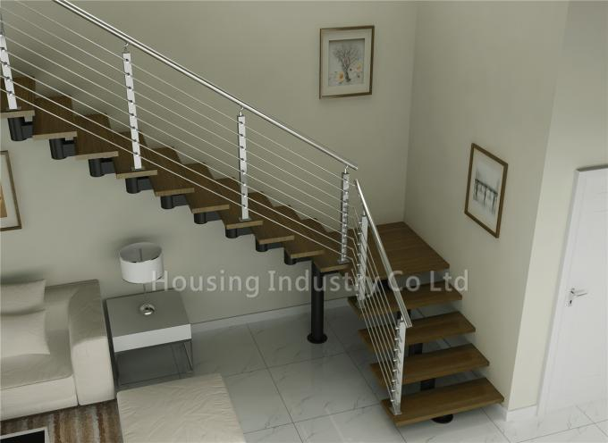 L shaped wood stairs with steel cable wooden stair(HS-SM BEAM-GT-34)