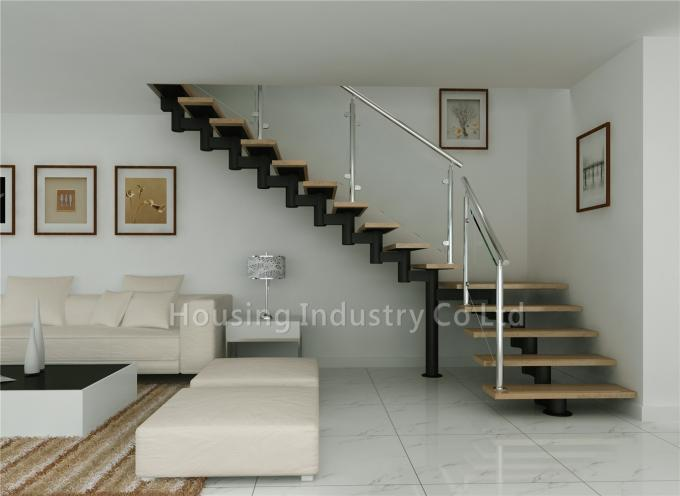 newest designed wood stair armrest indoor modern steel wood stairs(HS-RM BEAM-WT-23)