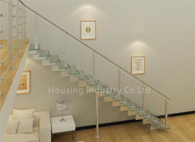 Carbon steel beam staircase with frameless tempered glass railing(HS-SM BEAM-WT-23)
