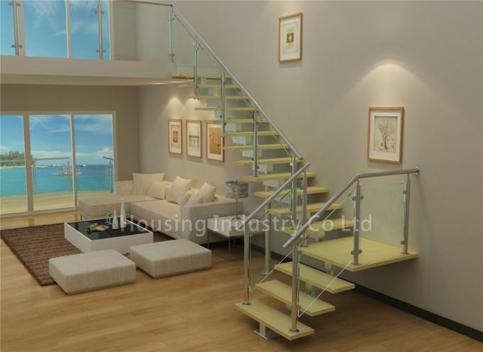 Central beam support high quality ladder glass wood staircases(HS-SM BEAM-WT-23)