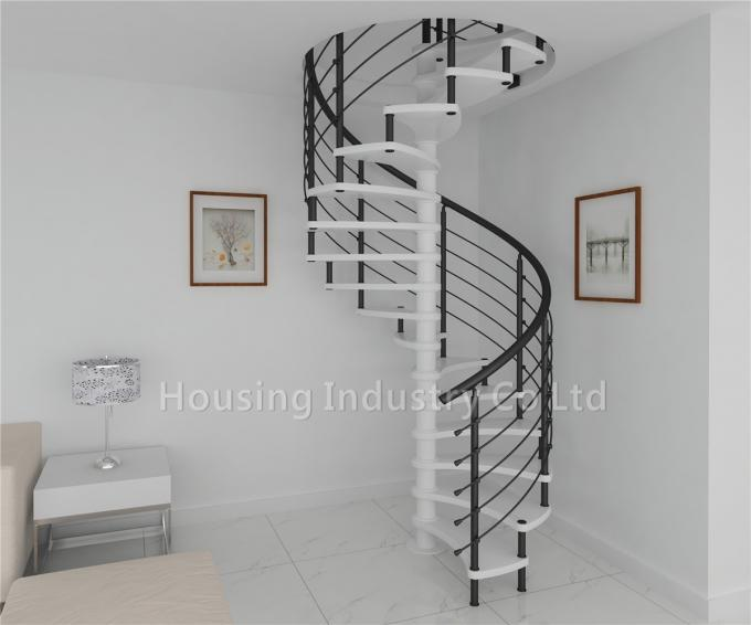 internal spiral stairs wood tread professional style with pvc handrail(HS-SPIRAL-WT-BAR)