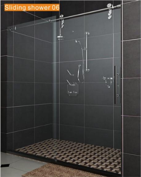 Sliding glass shower door with big roller