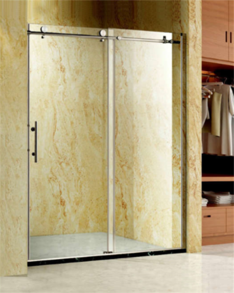 Sliding glass shower door with small roller